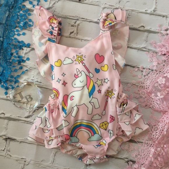 a99dc9ee3 One Pieces | Boutique Baby Girl Unicorn Ruffle Romper | Poshmark